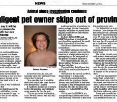 Debbie Andrews, Alleged Negligent NB Pet Owner, Skips Town for Alberta