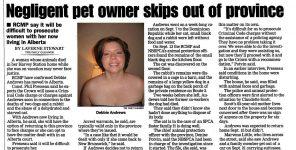 Debbie Andrews, Alleged Negligent NB Pet Owner, Skips Town for Alberta